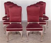 SET 6 FRENCH DINING CHAIRS CERUSED OAK C1950