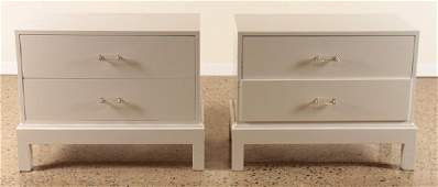 PAIR WHITE MID CENTURY MODERN END TABLES C.1970