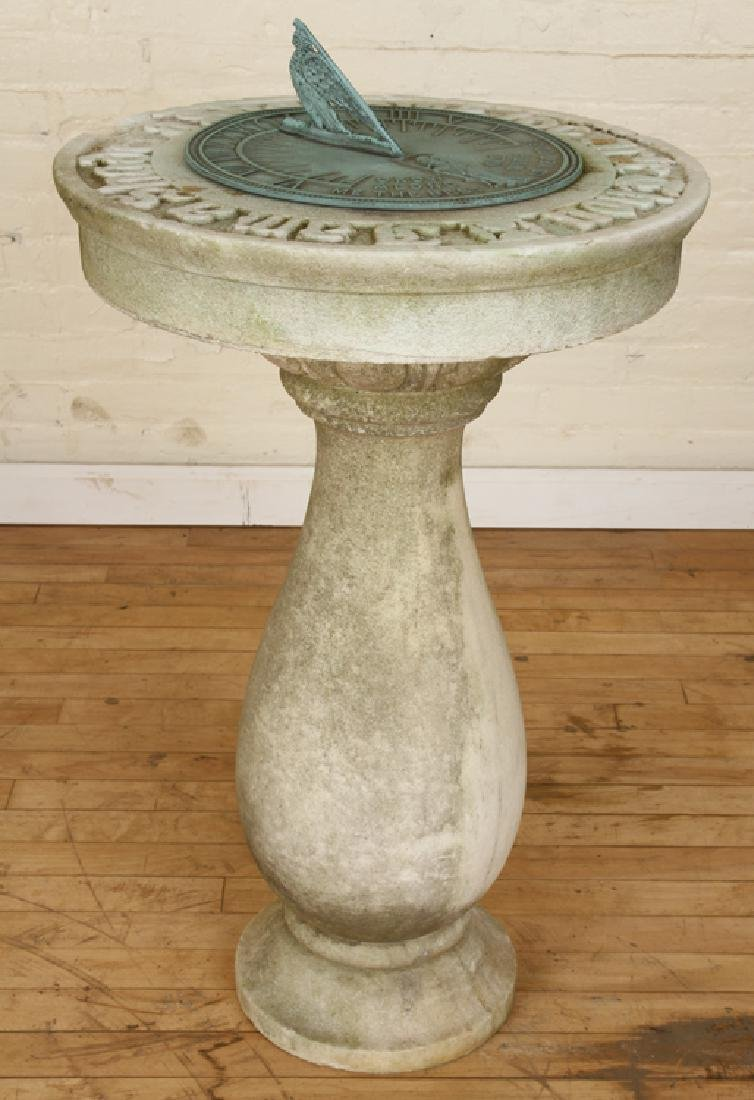 CARVED MARBLE AND BRONZE SUNDIAL CIRCA 1880