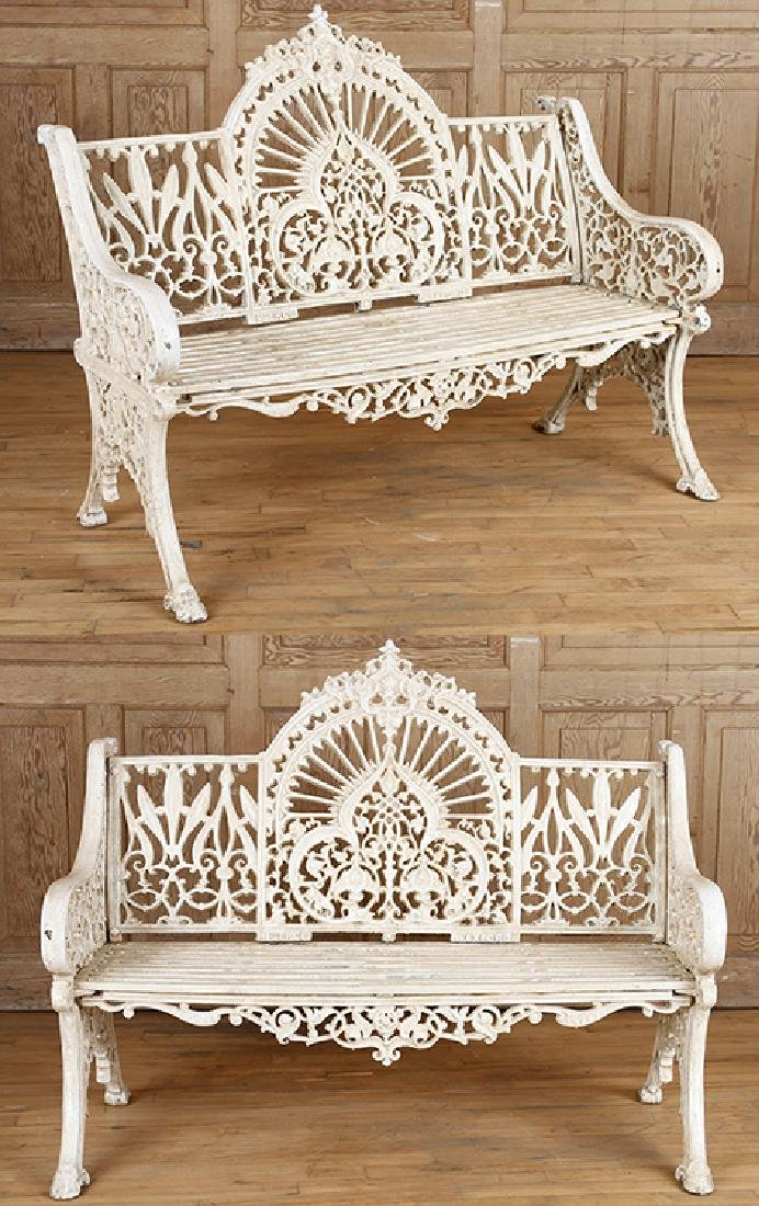 PAIR PIERCE WEXFORD FOUNDRY CAST IRON BENCHES