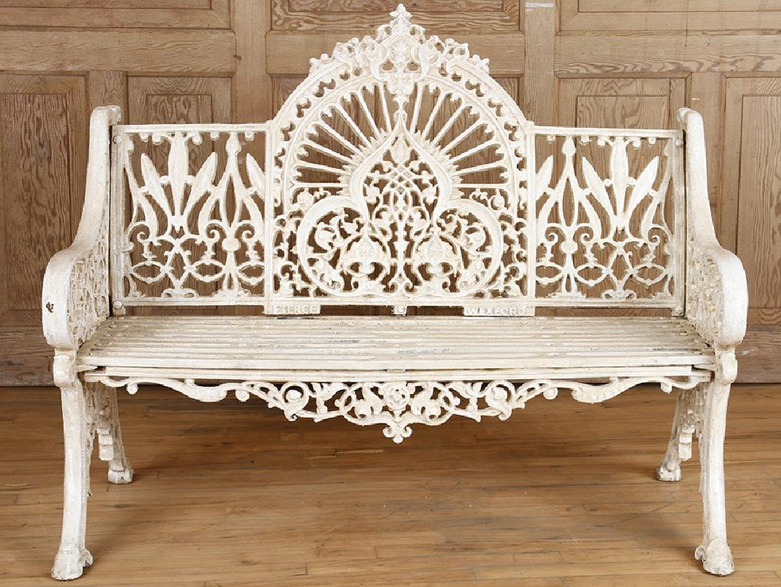 PAIR PIERCE WEXFORD FOUNDRY CAST IRON BENCHES - 2