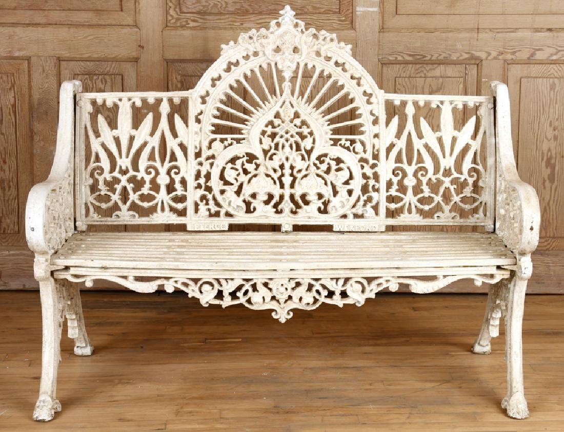 PAIR PIERCE WEXFORD FOUNDRY CAST IRON BENCHES - 3