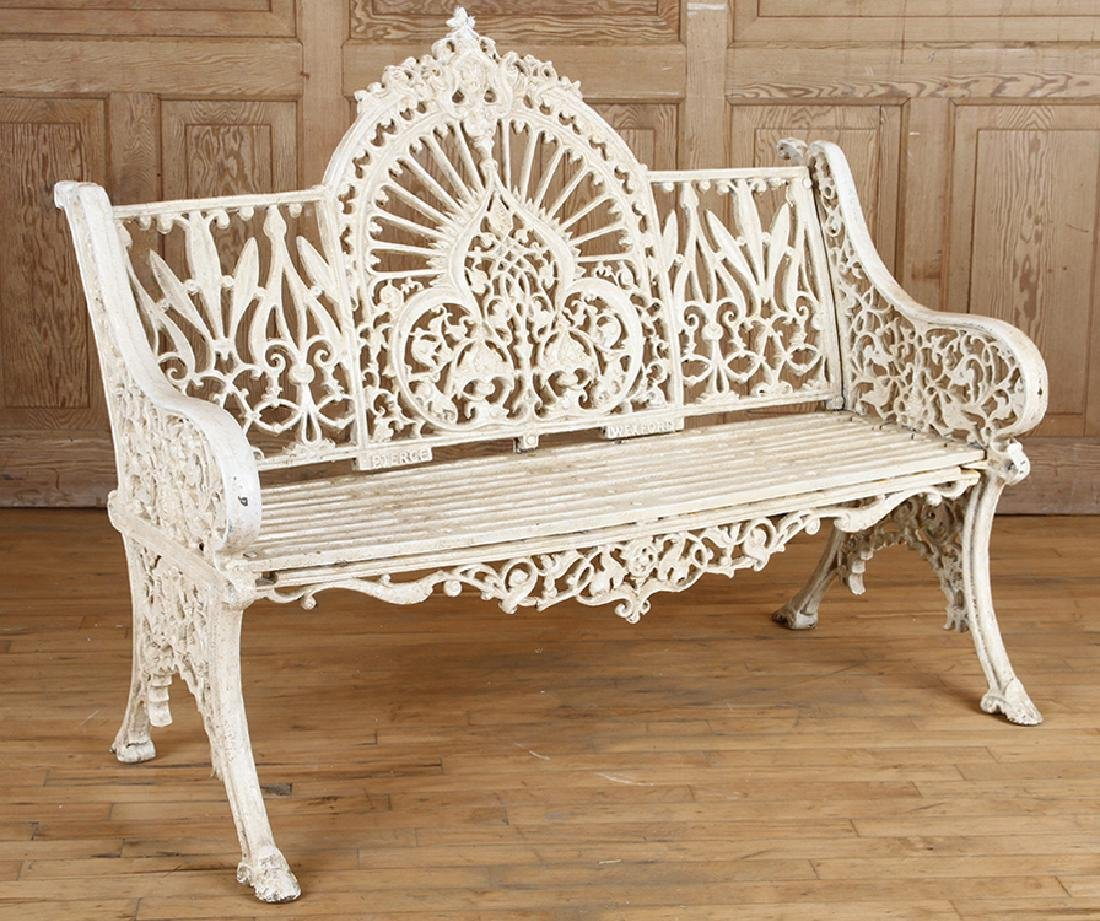 PAIR PIERCE WEXFORD FOUNDRY CAST IRON BENCHES - 4