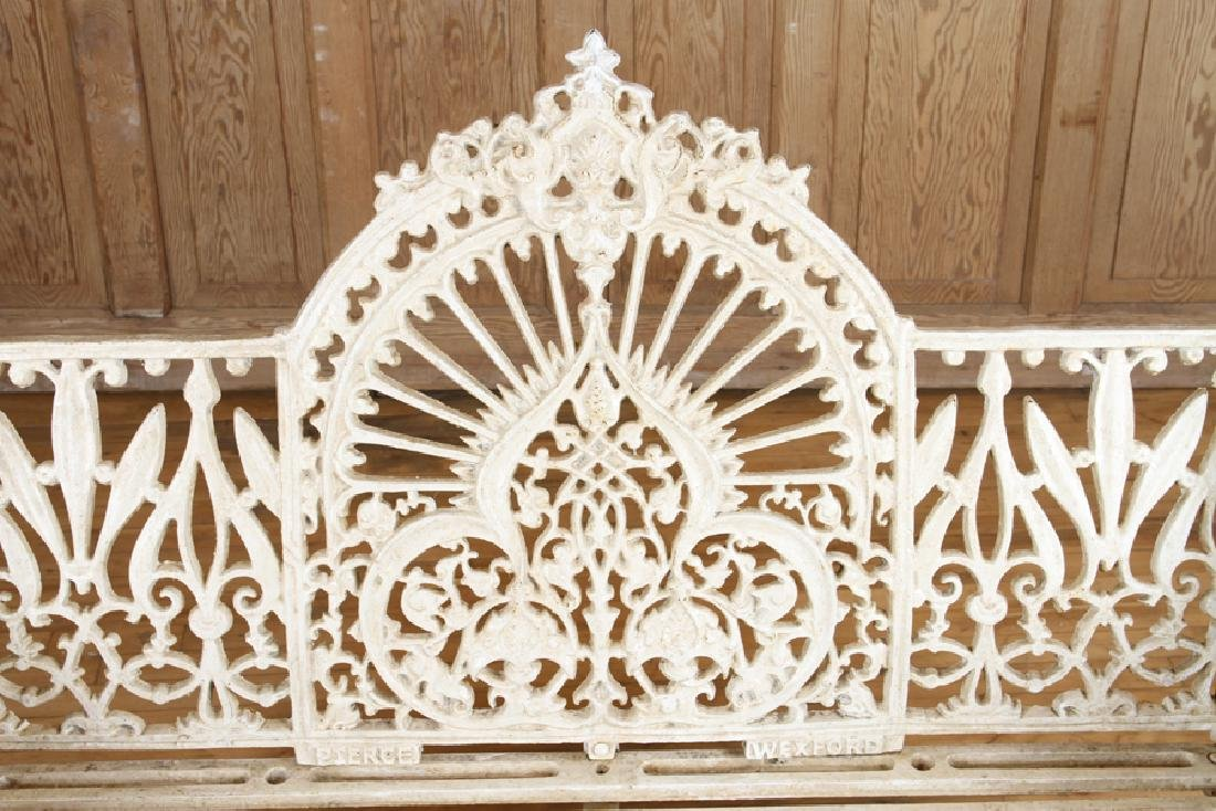 PAIR PIERCE WEXFORD FOUNDRY CAST IRON BENCHES - 5
