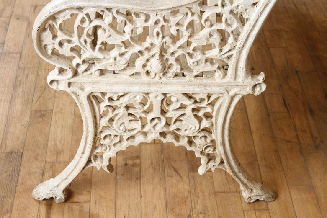 PAIR PIERCE WEXFORD FOUNDRY CAST IRON BENCHES - 7