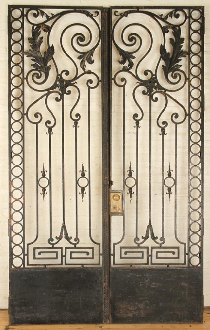 PAIR BLACK IRON GATES & ARCH FORM TRANSOM C.1920 - 2