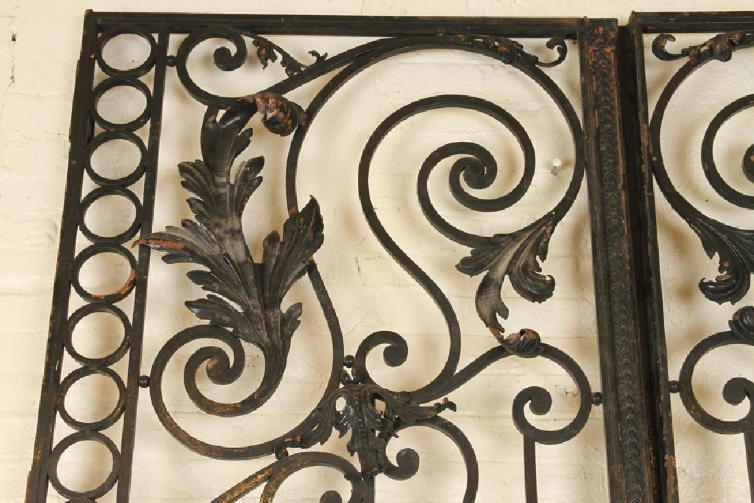 PAIR BLACK IRON GATES & ARCH FORM TRANSOM C.1920 - 3