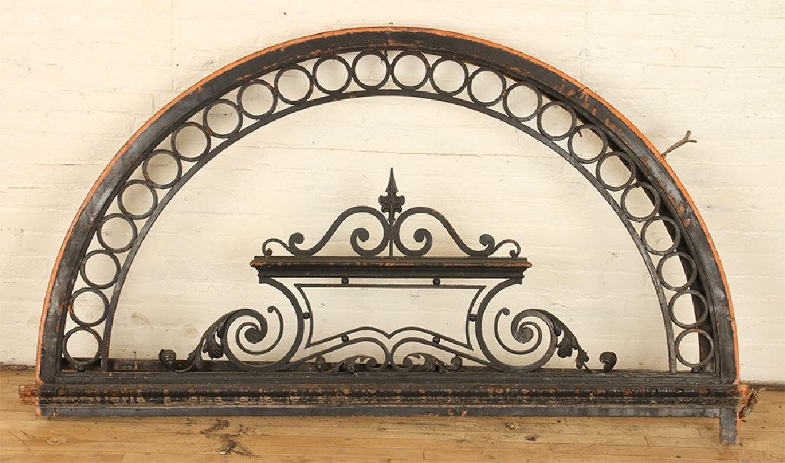 PAIR BLACK IRON GATES & ARCH FORM TRANSOM C.1920 - 6
