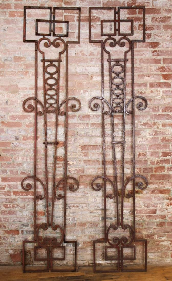 PAIR WROUGHT IRON PANELS CIRCA 1920