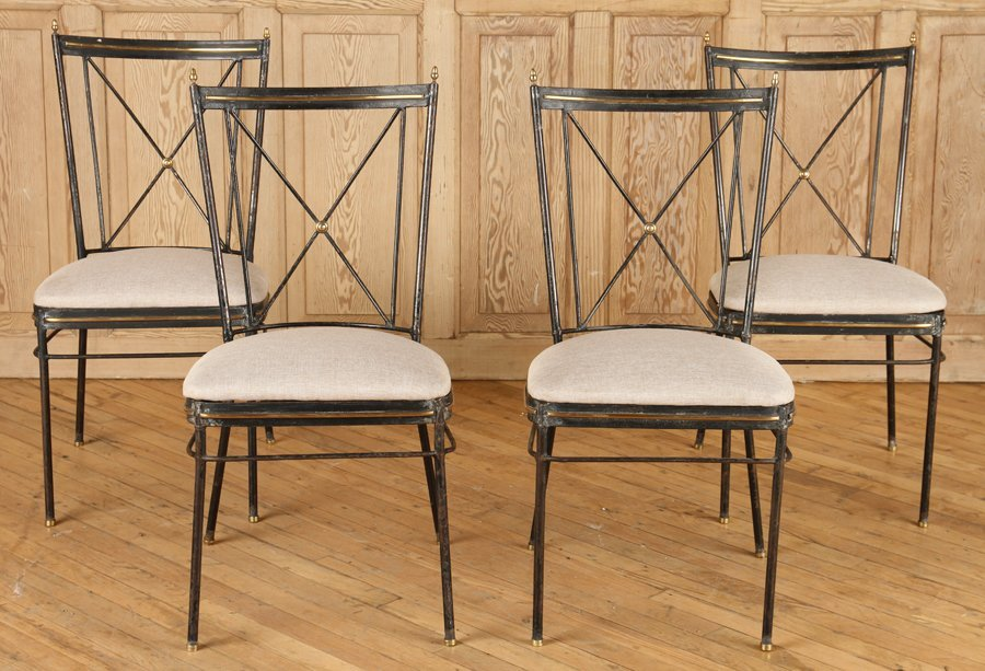 SET 4 REGENCY STYLE X FORM IRON CHAIRS C.1950
