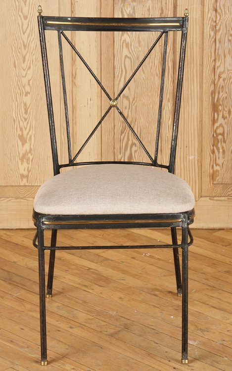 SET 4 REGENCY STYLE X FORM IRON CHAIRS C.1950 - 3