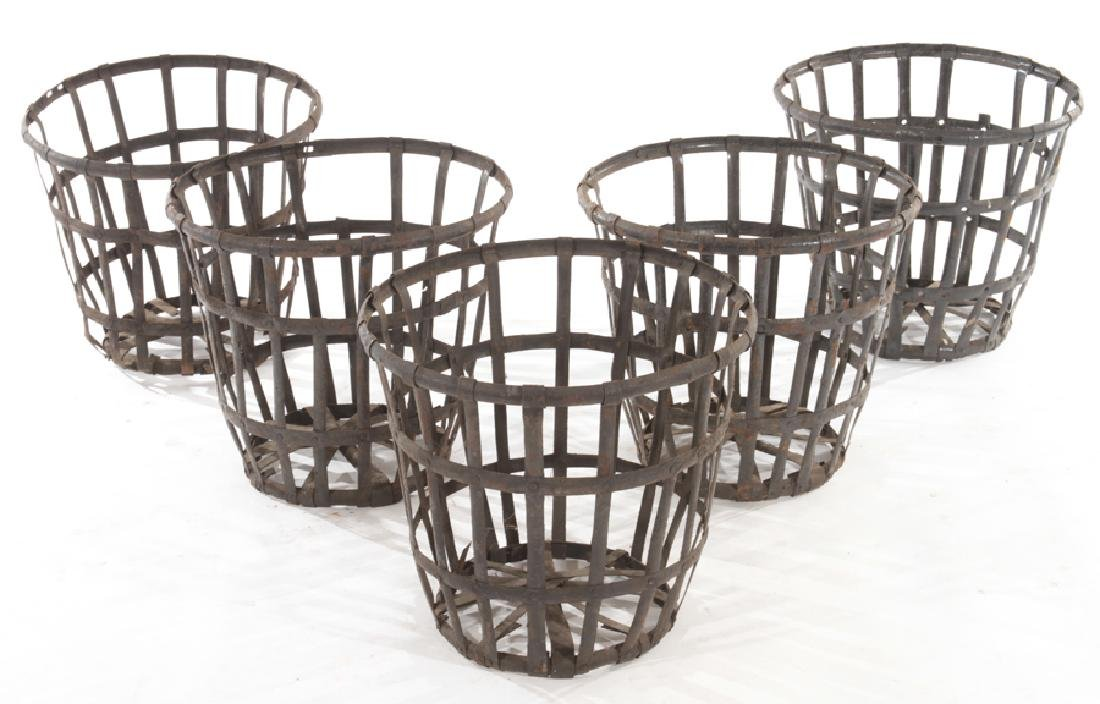 LOT 5 FRENCH WOVEN IRON BASKET FORM PLANTERS