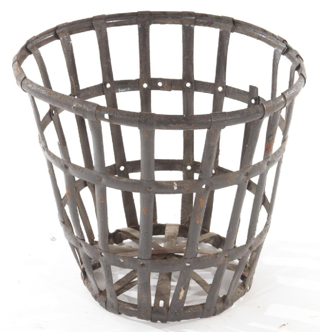 LOT 5 FRENCH WOVEN IRON BASKET FORM PLANTERS - 2