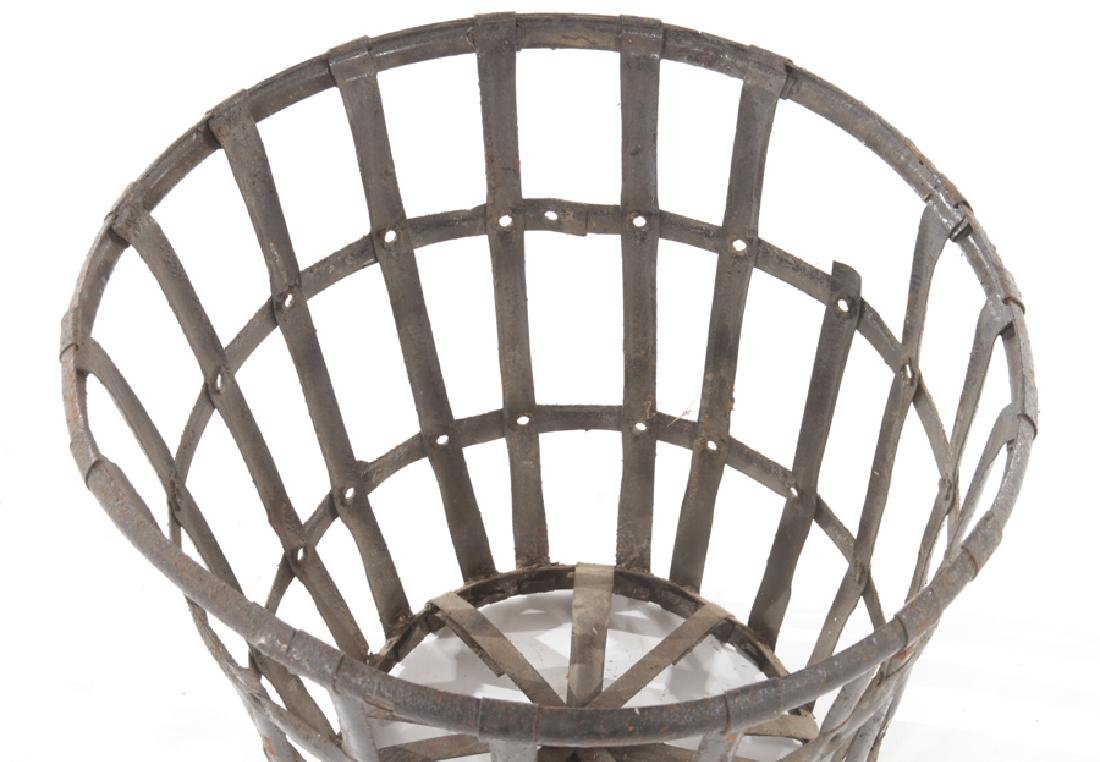 LOT 5 FRENCH WOVEN IRON BASKET FORM PLANTERS - 3
