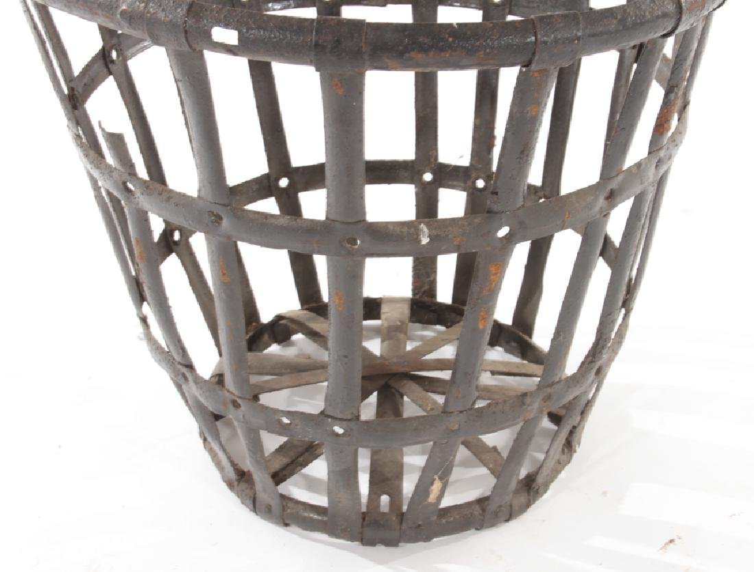 LOT 5 FRENCH WOVEN IRON BASKET FORM PLANTERS - 4