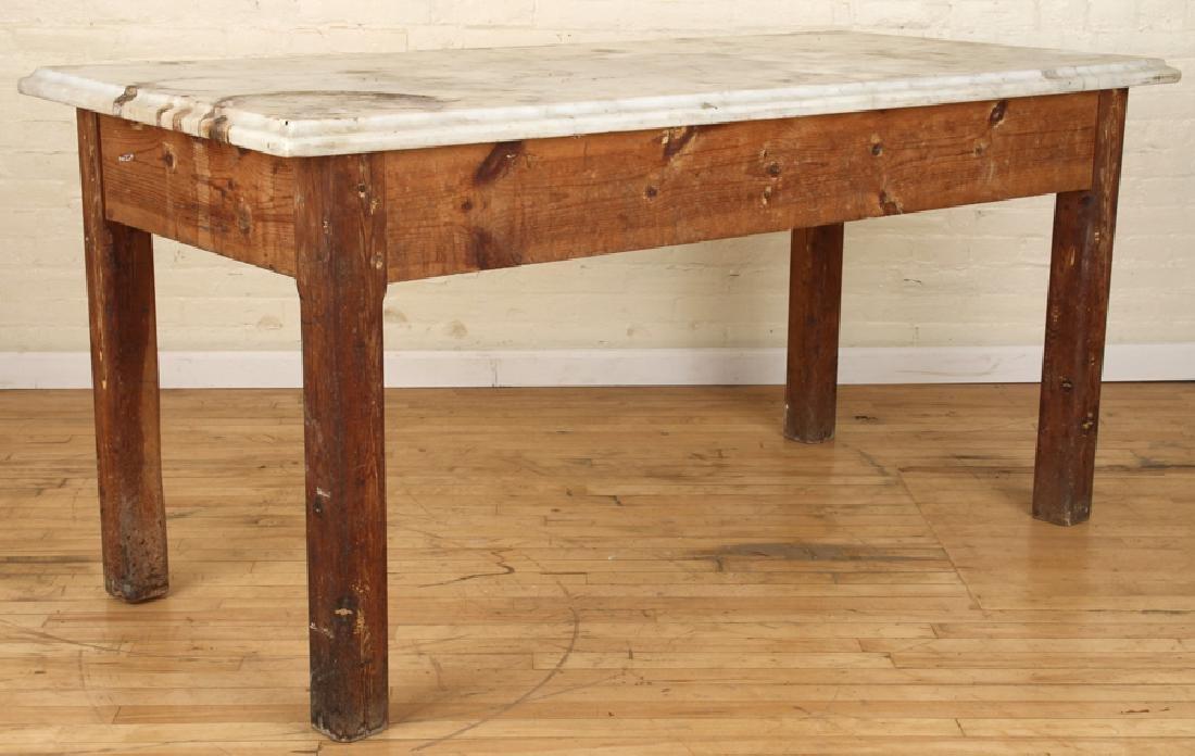 MARBLE TOP PINE POTTING TABLE CIRCA 1890