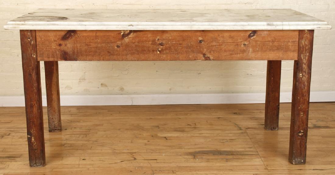 MARBLE TOP PINE POTTING TABLE CIRCA 1890 - 2