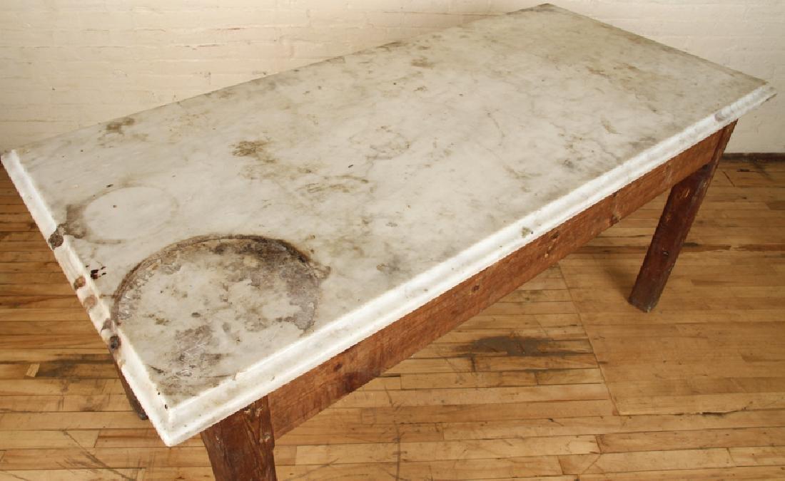 MARBLE TOP PINE POTTING TABLE CIRCA 1890 - 3