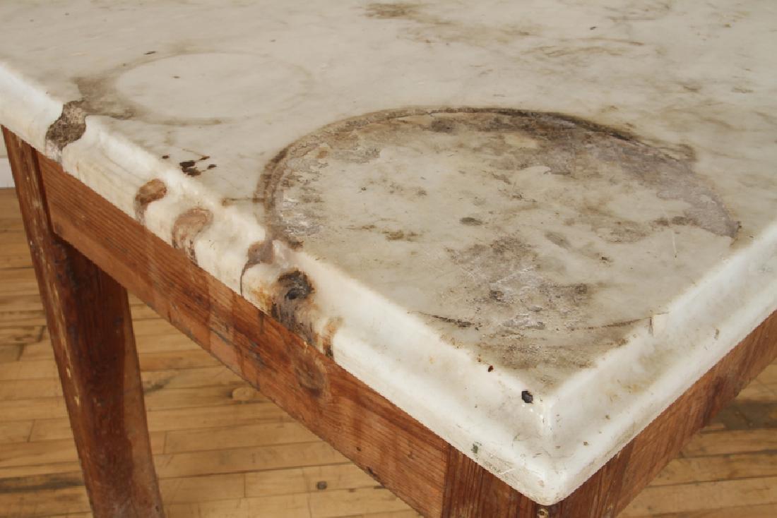 MARBLE TOP PINE POTTING TABLE CIRCA 1890 - 4