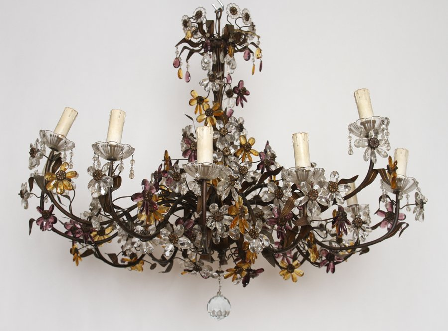 LARGE IRON CHANDELIER MULTI COLORED GLASS FLOWERS