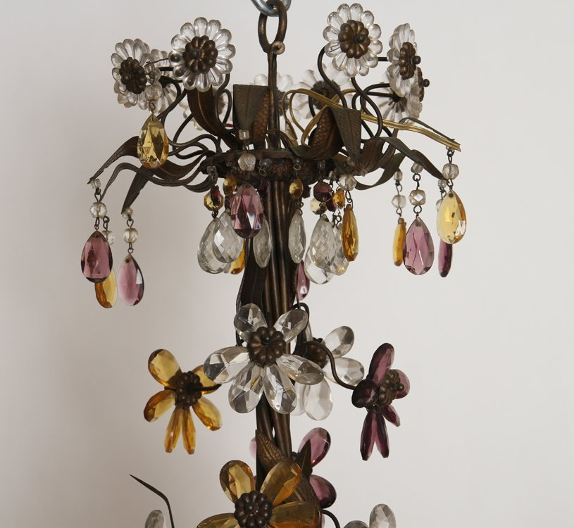 LARGE IRON CHANDELIER MULTI COLORED GLASS FLOWERS - 2