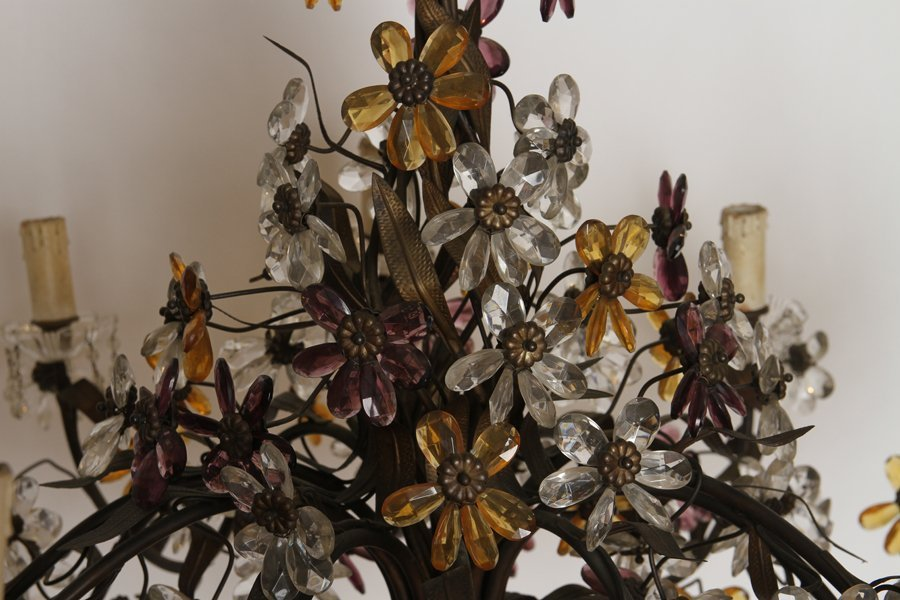 LARGE IRON CHANDELIER MULTI COLORED GLASS FLOWERS - 3
