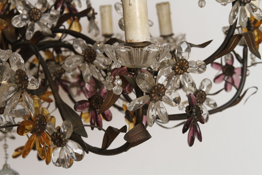 LARGE IRON CHANDELIER MULTI COLORED GLASS FLOWERS - 4