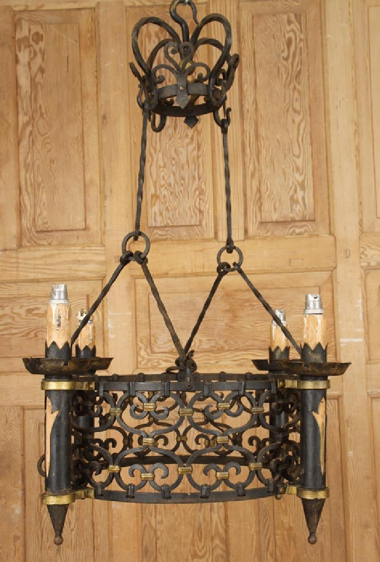 FRENCH WROUGHT IRON FOUR ARM CHANDELIER C.1930