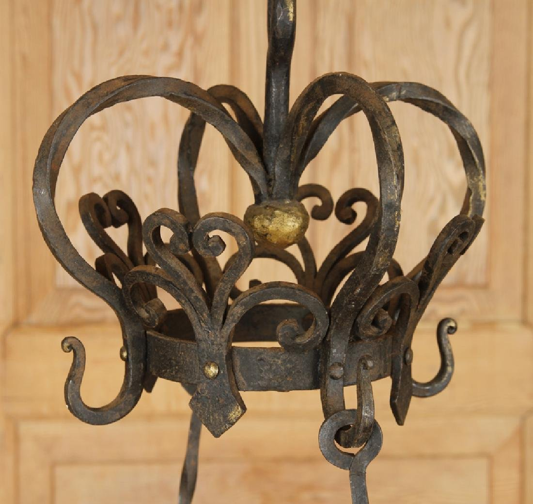 FRENCH WROUGHT IRON FOUR ARM CHANDELIER C.1930 - 2