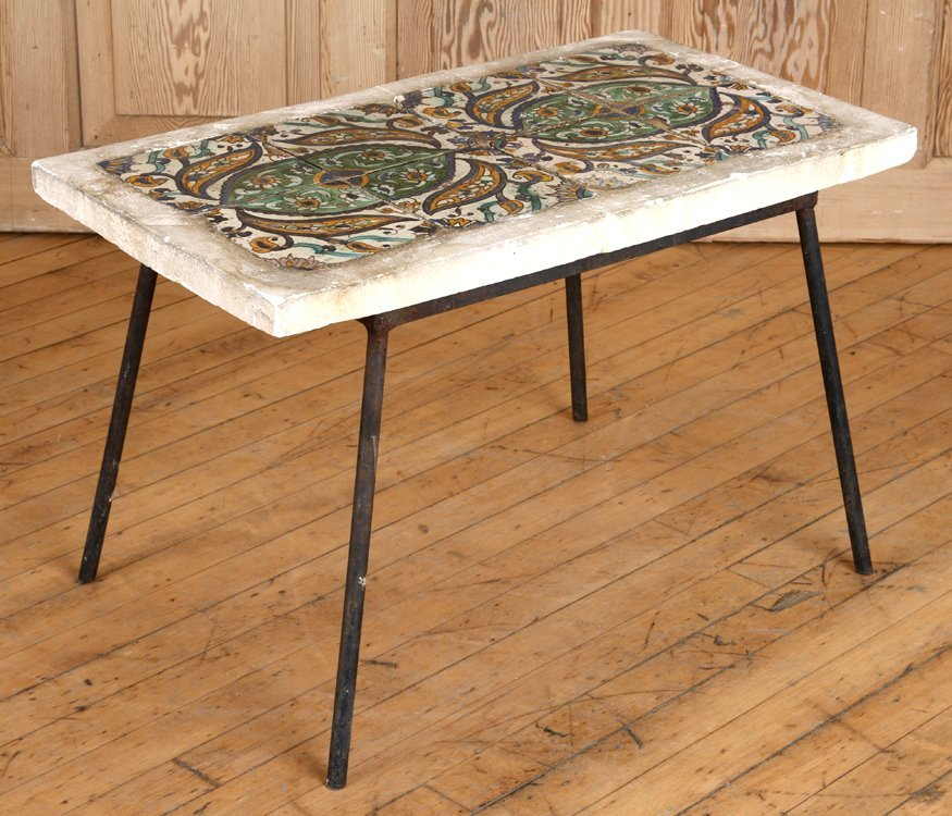 CONTINENTAL TILE TOP TABLE WITH IRON BASE C.1940
