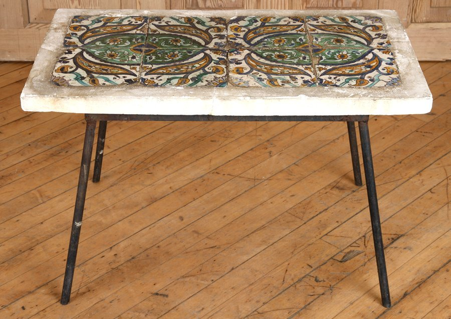 CONTINENTAL TILE TOP TABLE WITH IRON BASE C.1940 - 2