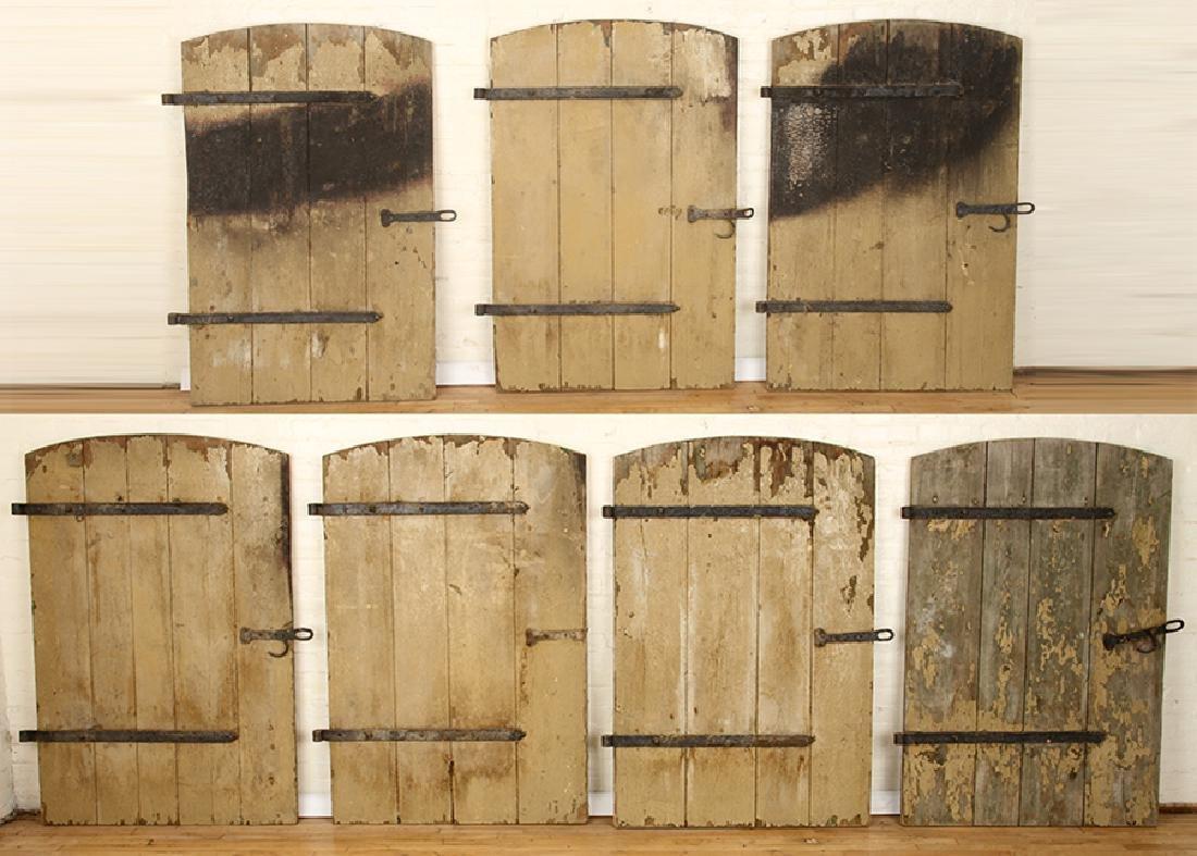 SET 7 WROUGHT IRON WOOD DOORS CIRCA 1900
