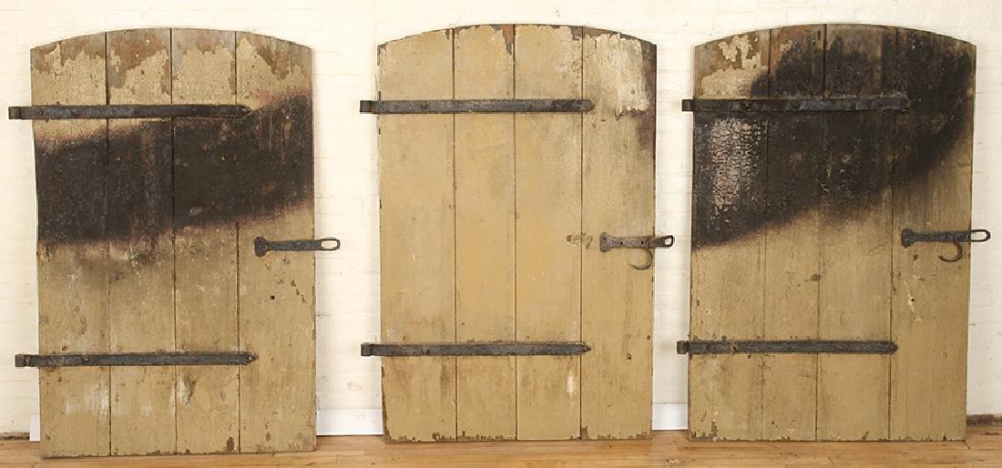 SET 7 WROUGHT IRON WOOD DOORS CIRCA 1900 - 2