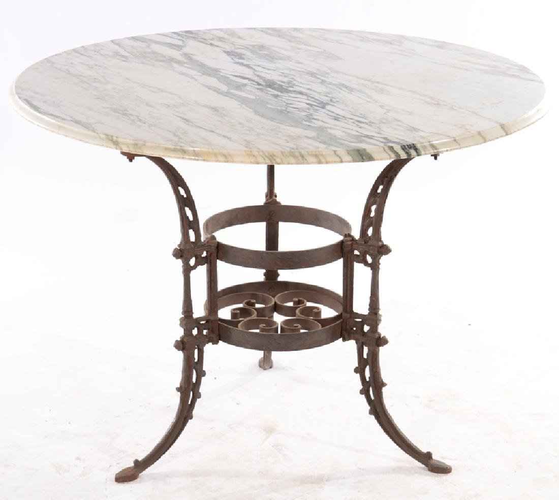 WROUGHT & CAST IRON GARDEN TABLE MARBLE TOP