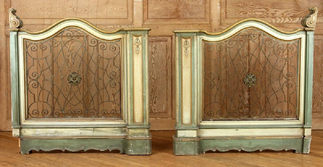 PAIR POLYCHROMED CARVED ITALIAN WOOD PANELS C1930