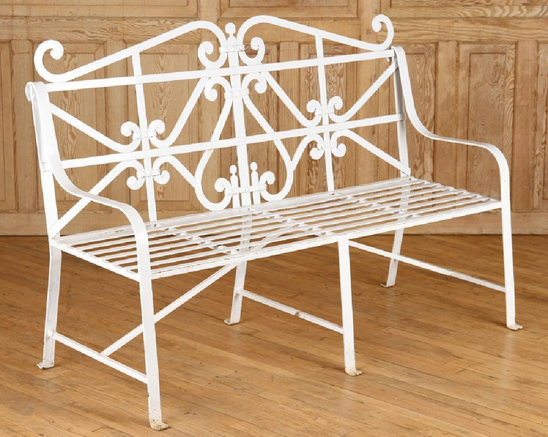 REGENCY STYLE WROUGHT IRON BENCH