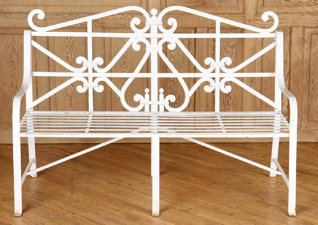 REGENCY STYLE WROUGHT IRON BENCH - 2