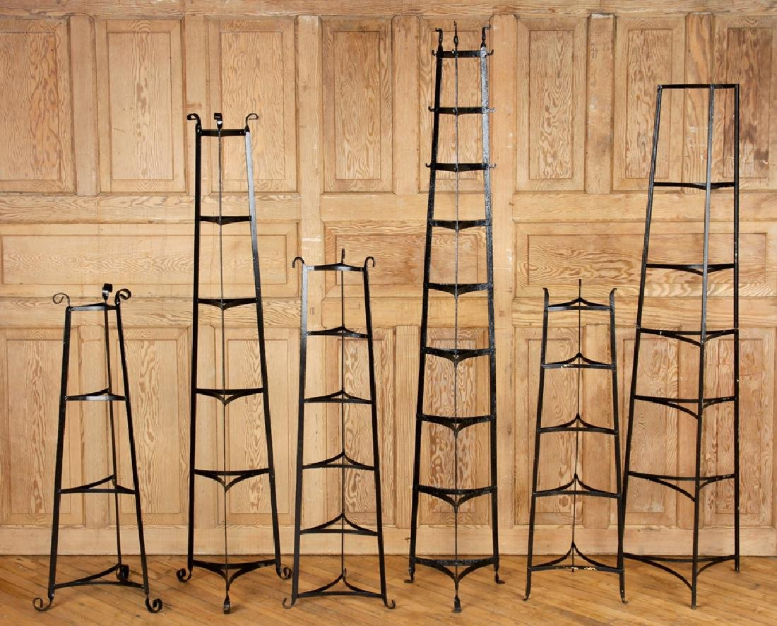 SET OF SIX WROUGHT IRON PLANT STANDS