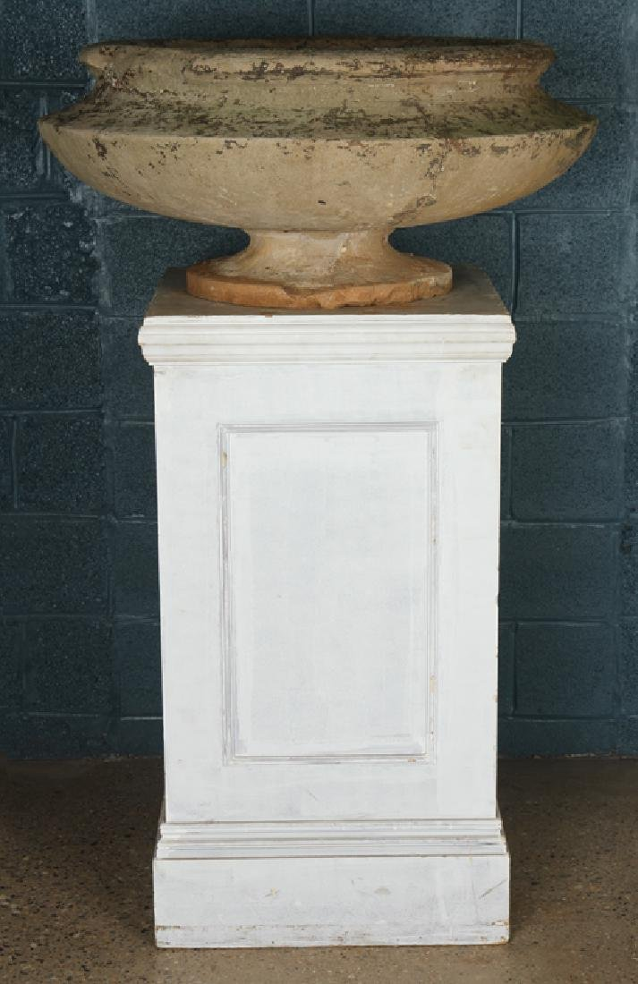 PAIR STONE GARDEN URNS BY GEORGE WASHINGTON MAHER - 3