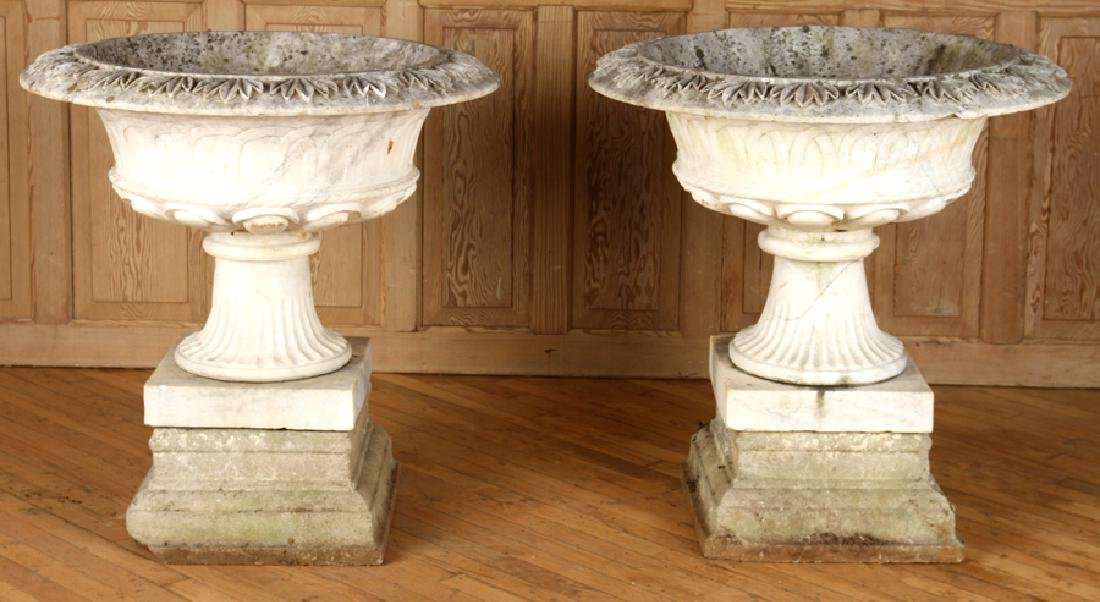 PAIR CARVED MARBLE GARDEN URNS CAST STONE BASE