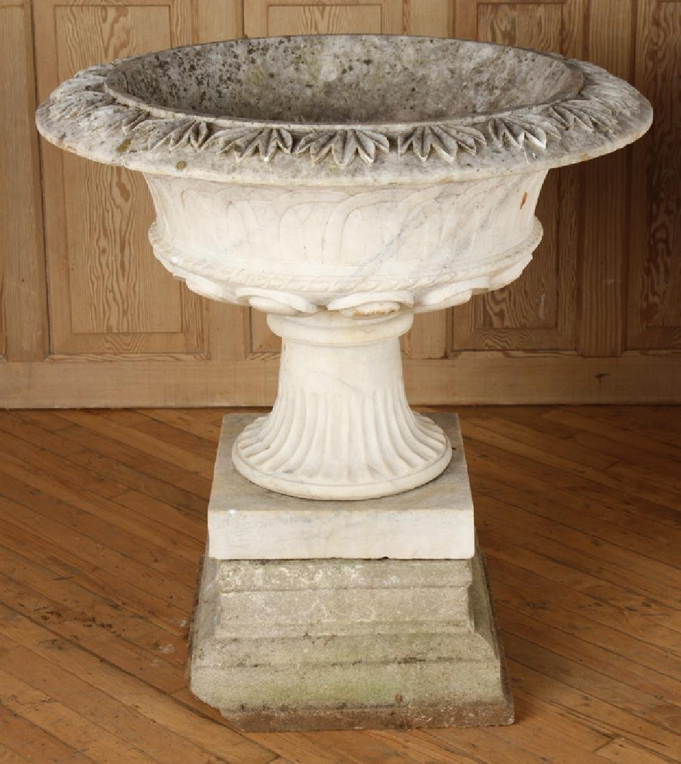 PAIR CARVED MARBLE GARDEN URNS CAST STONE BASE - 2