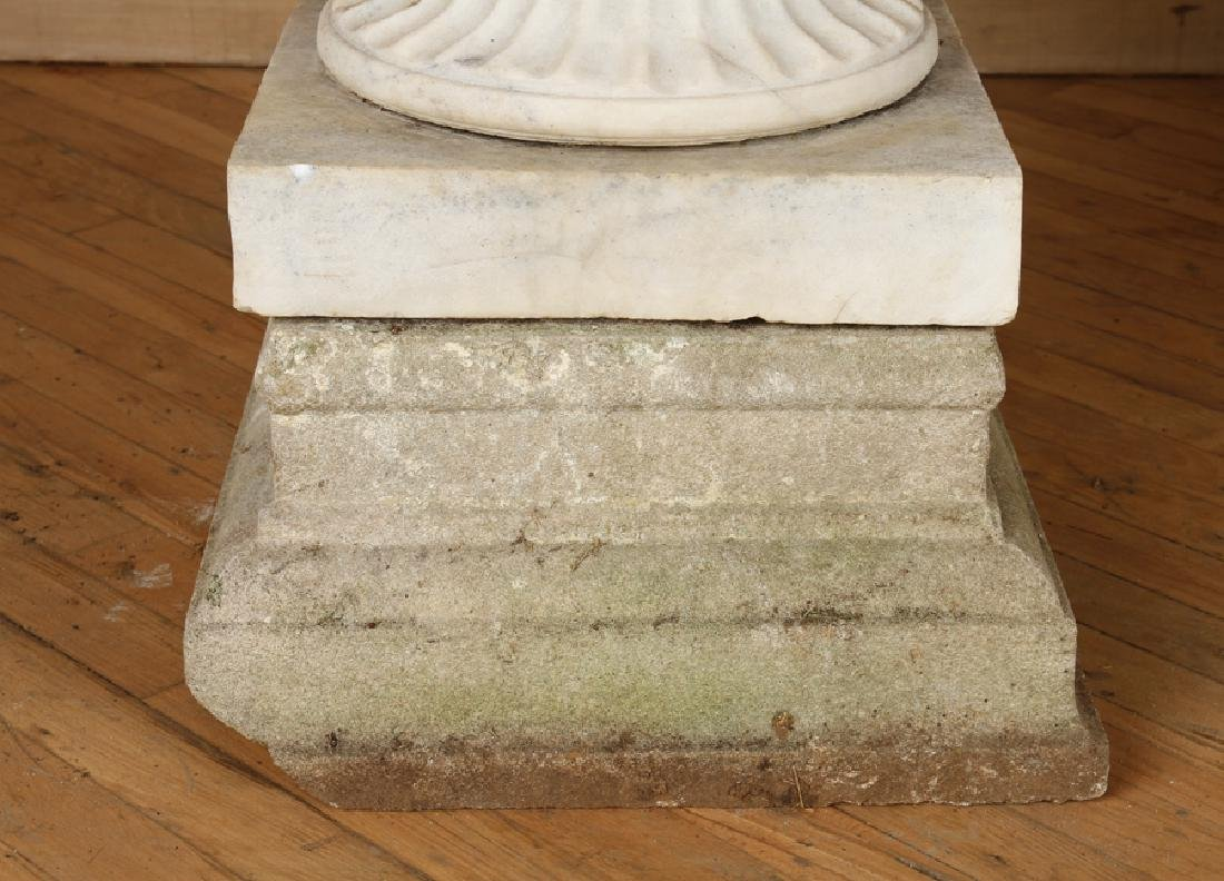 PAIR CARVED MARBLE GARDEN URNS CAST STONE BASE - 5