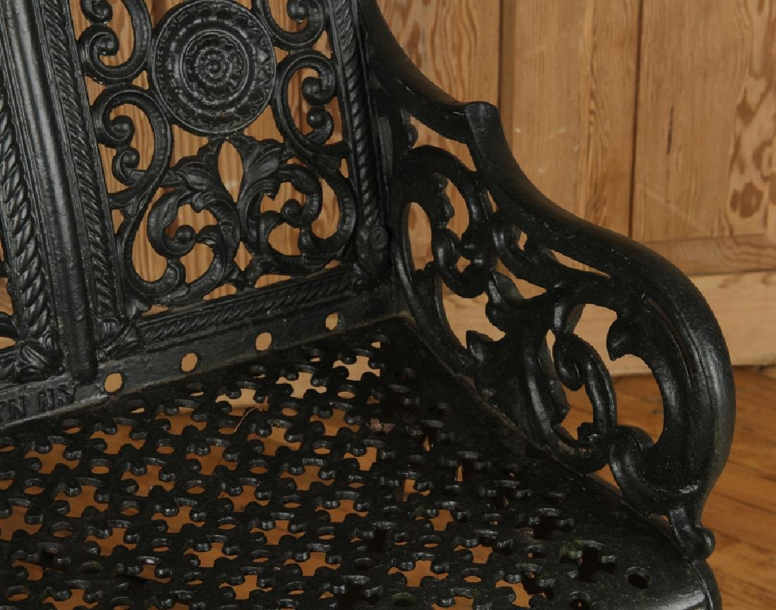 CAST IRON GARDEN BENCH SIGNED PETER TIMMES SON - 4