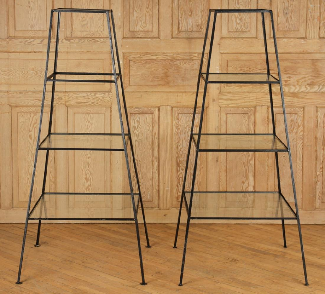 PAIR IRON AND GLASS PLANT STANDS