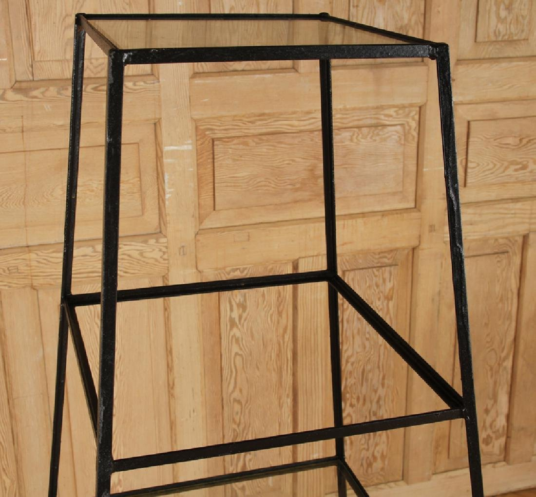 PAIR IRON AND GLASS PLANT STANDS - 3