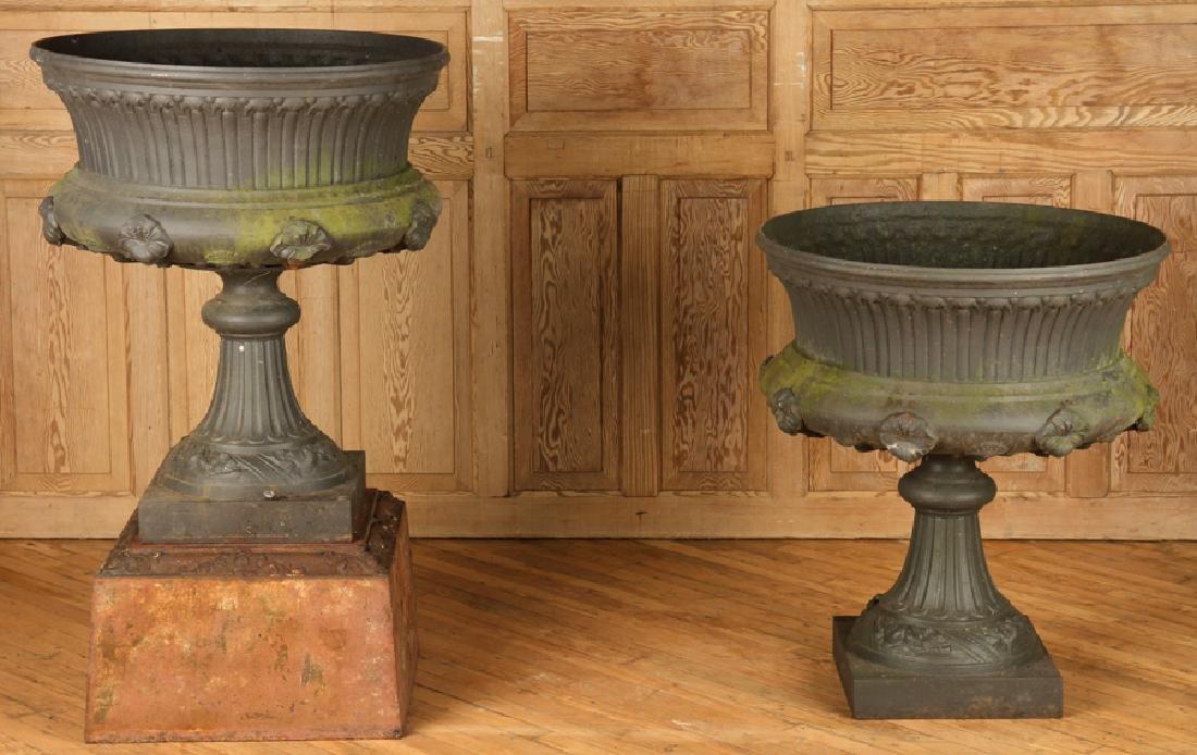 PAIR VICTORIAN CAST IRON GARDEN URNS BY J.L. MOTT
