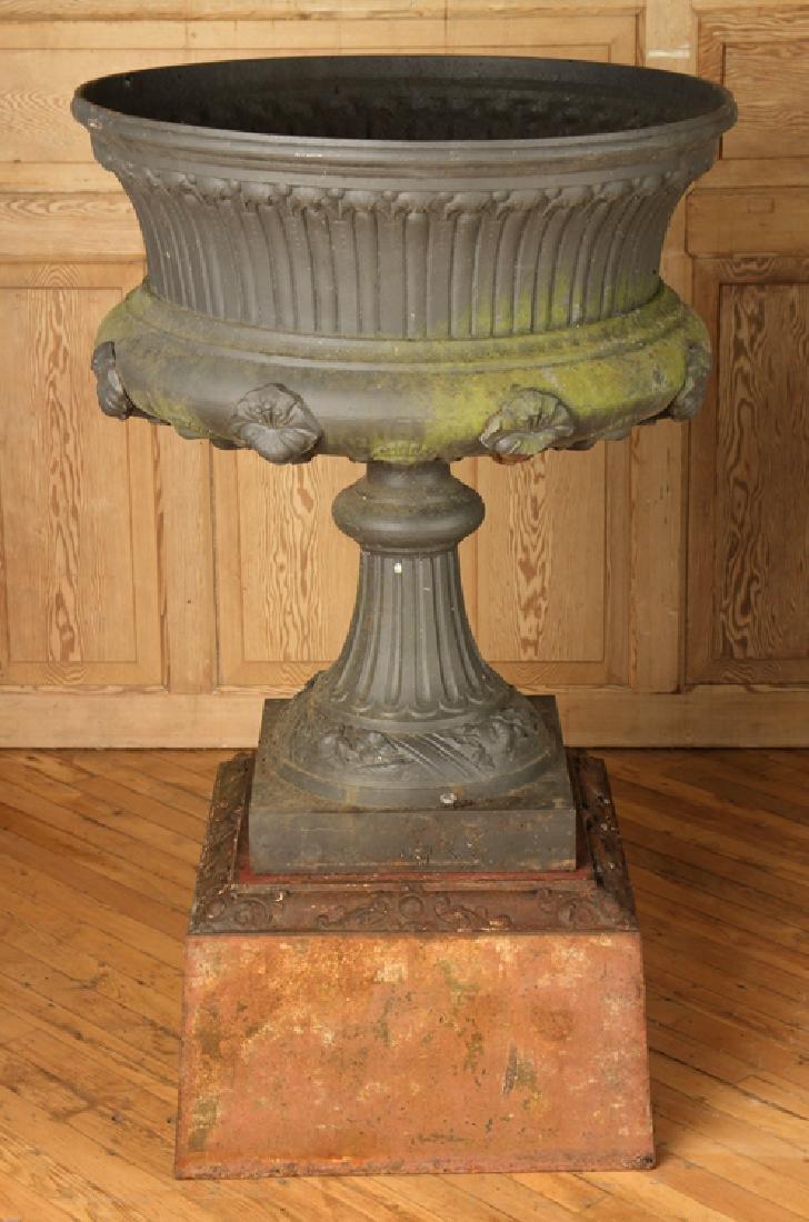 PAIR VICTORIAN CAST IRON GARDEN URNS BY J.L. MOTT - 2