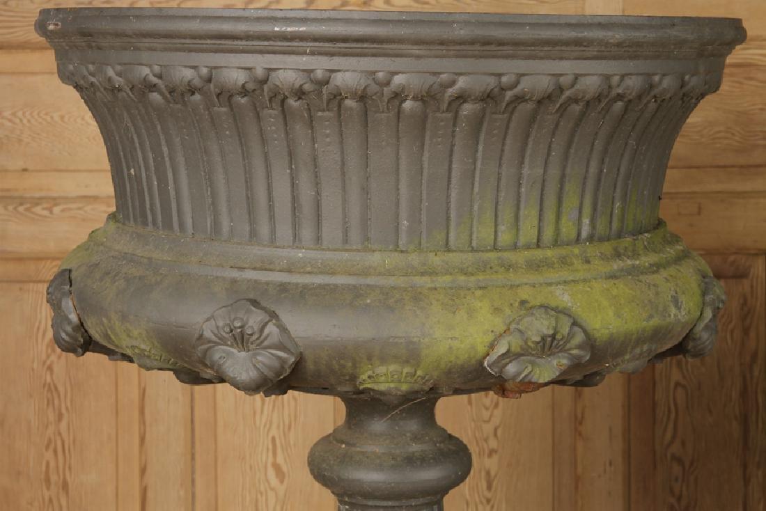 PAIR VICTORIAN CAST IRON GARDEN URNS BY J.L. MOTT - 4