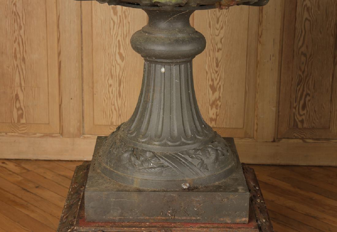 PAIR VICTORIAN CAST IRON GARDEN URNS BY J.L. MOTT - 5