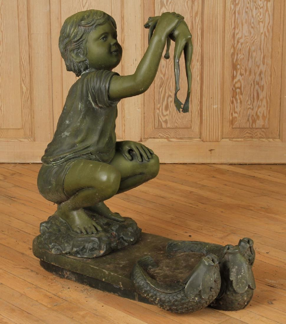 BRONZE FOUNTAIN OF BOY HOLDING FROG